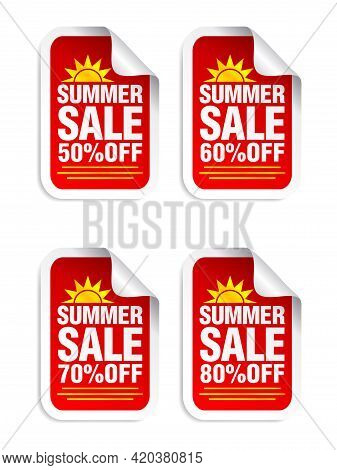 Summer Sale Red Sticker Set. Sale 50%, 60%, 70%, 80% Off. Stickers With Yellow Sun Icon. Vector Illu
