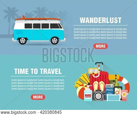 Summer Wanderlust Concept Design Flat Banners Set With. Time To Travel. Travel Icon. Safe Journey. V