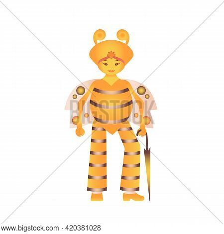 Human-like Insect Character In The Form Of A Bee - Fashionista With An Umbrella. Vector Illustration