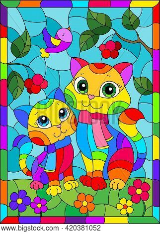 Stained Glass Illustration With Bright Cartoon Cats Against A Blue Sky  And Flowers, In A Bright Fra