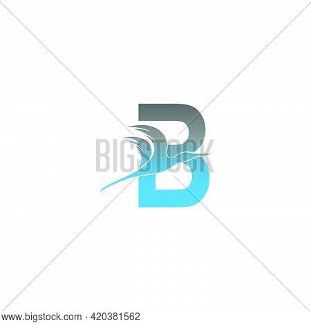Letter B Logo With Pelican Bird Icon Design Vector