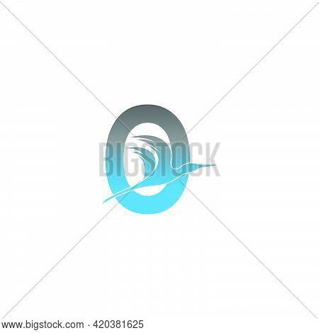 Letter O Logo With Pelican Bird Icon Design Vector