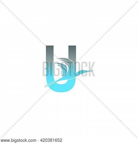 Letter U Logo With Pelican Bird Icon Design Vector