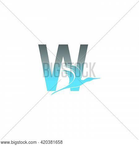 Letter W Logo With Pelican Bird Icon Design Vector