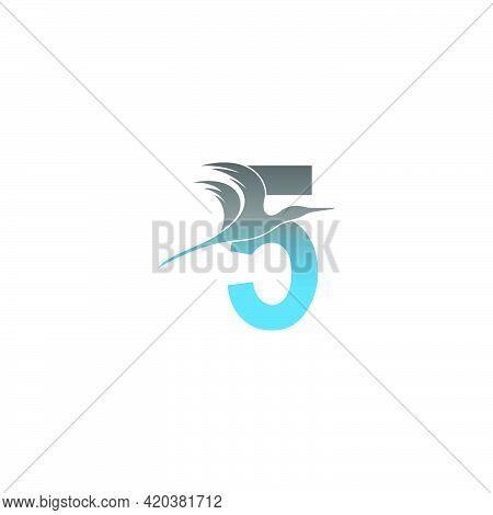 Number 5 Logo With Pelican Bird Icon Design Vector