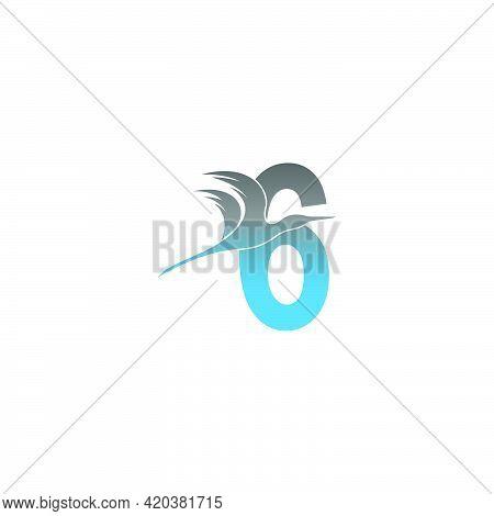 Number 6 Logo With Pelican Bird Icon Design Vector