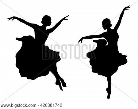 Abstract Attractive Slender Ladies Dancer Black Stencil Silhouettes In Dress, Hand Drawing Vector Il
