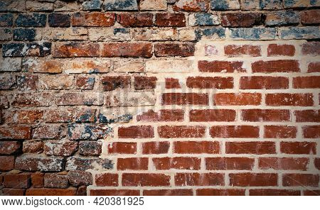 Abstract Old Distressed Brick Wall Red And Black Color. Decay Urban Texture Brick Material. Grungy R