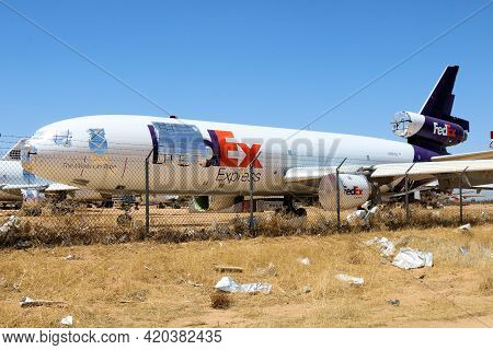 May 12, 2021 In Victorville, Ca:  Abandoned Dc10 Airliner Aircraft Used For Parts Taken In The Victo