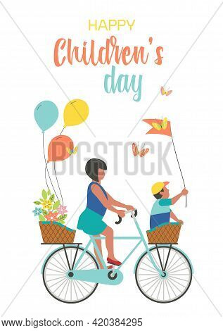 Happy Childrens Day Cute Greeting Card Vector Illustration. Kids Ride Bicycle Fancy Cartoon Design B