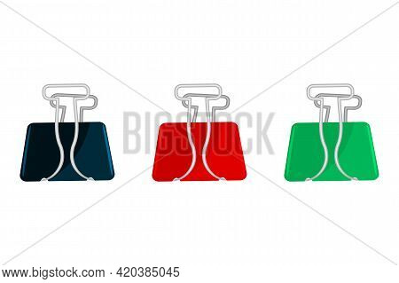 Binder Clips Set Isolated On White Background. Paper Colorful Binder Clip. Office Stationery Supply.
