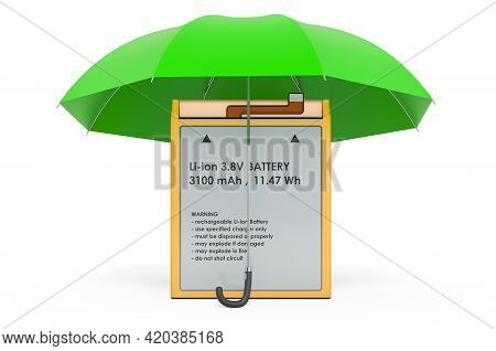 Lithium Ion Cell Phone Battery Under Umbrella, 3d Rendering Isolated On White Background