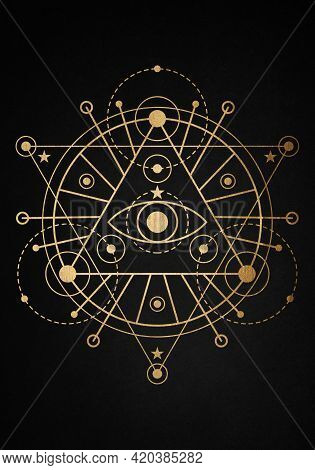 Sacred Masonic Symbol Vesica Piscis Gold Sacred Geometry. All Seeing Eye, The Third Eye Or The Eye O