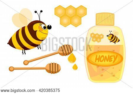 Honey Set Object Isolated On White Background. Bee, Wooden Honey Dipper, Honeycomb, Bottle With Labe