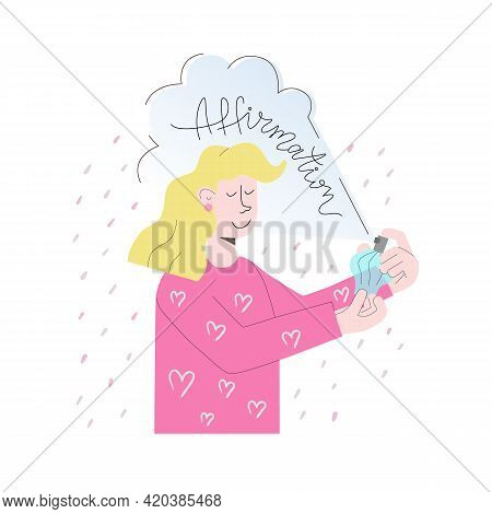 Affirmation Looks Like Perfume Covers Girl. She Is Confident And Happy. Vector Illustration With Let