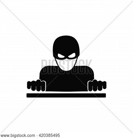 Hacker Vector Solid Black Icon. A Symbol Of Cybercrime. Password Hacking And Identity Theft, Softwar