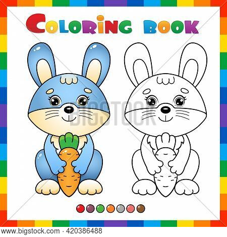 Coloring Page Outline Of Cartoon Bunny Or Hare With Carrot. Coloring Book For Kids.