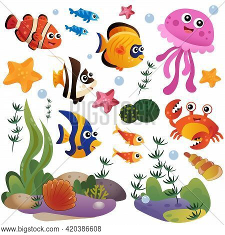 Cartoon Marine Inhabitants Of The Underwater World. Coral Reef With Little Fishes, Jellyfish, Crab A