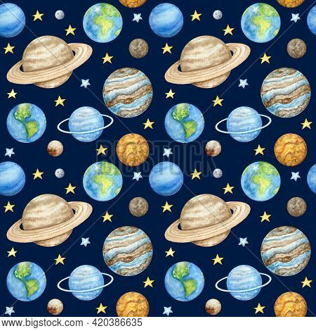 Planets Of The Solar System Seamless Pattern. Outer Space Planet Mercury Venus Earth Mars Jupiter Sa