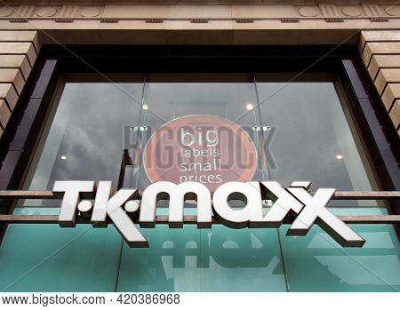 Leeds, West Yorkshire, United Kingdom - 11 May 2021: Sign Above The Entrance Of The T L Maxx Retail