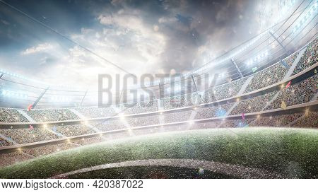 Stadium With Flashlights And Fans. Wide Angle. 3d. Sport