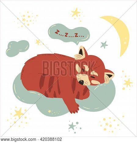 Cute Red Panda Sleeps On Cloud. Moon And Stars. Nursery Vector Illustration In Cartoon Style. For Ba