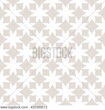 Simple Beige And White Vector Geometric Seamless Pattern With Diamond Shapes, Squares, Rhombuses, Gr