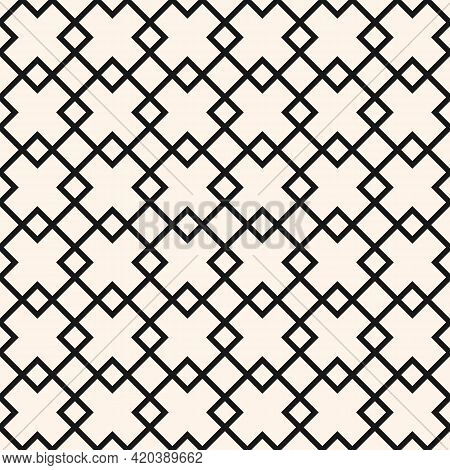 Diamond Grid Vector Seamless Pattern. Abstract Geometric Monochrome Texture With Thin Lines, Rhombus