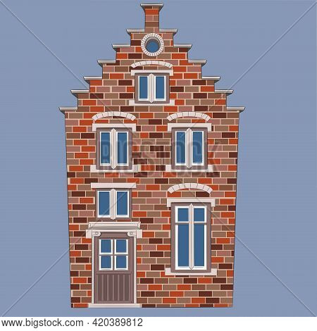 Traditional Brick Medieval House In The Historical Part Of Bruges.