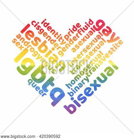 Colorful Rainbow Pride Tagcloud Isolated On White Background. Watercolor Illustration With Words