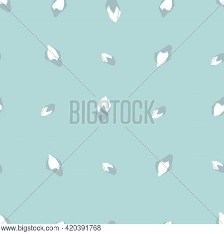Blossoming Wild Flower Buds Seamless Pattern On Light Blue Print