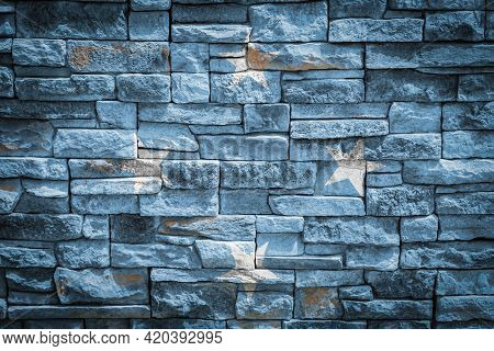 National Flag Of Federal States Of Micronesia On Stone  Wall Background.the Concept Of National Prid