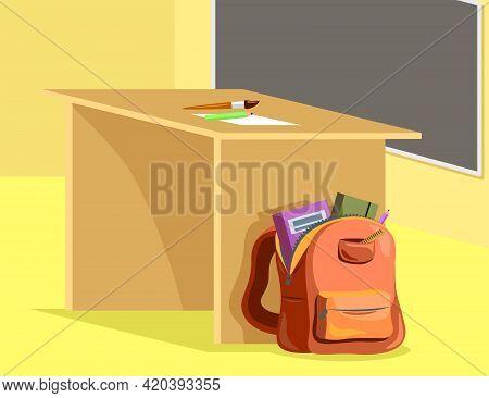 Schoolbag At Teacher Desk In Classroom Cartoon Illustration. Open Backpack On Floor, Chalkboard On W