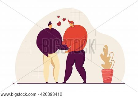 Two Young Gay Men Dating. Lgbt Couple In Love Embracing Flat Vector Illustration. Homosexual Relatio
