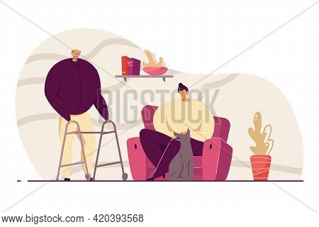 Grandson Visiting His Grandfather At Home Flat Vector Illustration. Old Man With Walking Frame, Youn