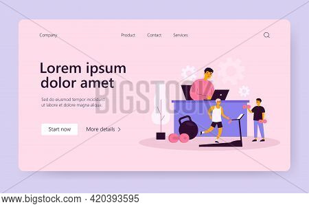 Cheerful Man Working And Exercising In Fitness-friendly Office Isolated Flat Vector Illustration. Ca