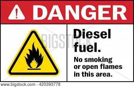 Diesel Fuel. No Smoking Or Open Flames In This Area. Danger Sign. Fire Safety Signs And Symbols.