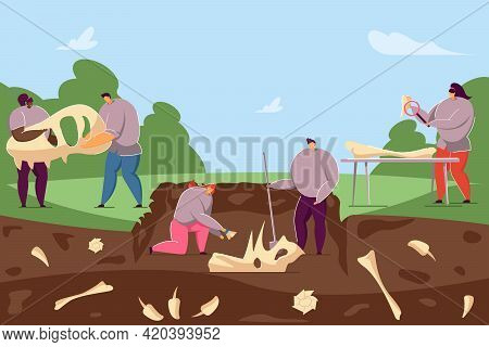Archaeologists Discovering Ancient Fossils In Ground. Flat Vector Illustration. Cartoon People Findi