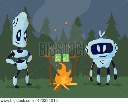 Cute Robots At Campsite Illustration. Mechanical Cartoon Characters Warming Motherboards Over Bonfir