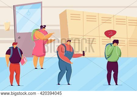 Students Bullying Lonely Child In School. Flat Vector Illustration. Angry Kids Laughing At Sad Nerd