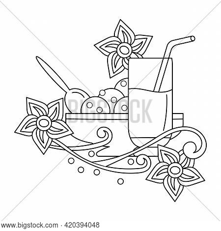 Coloring Book. A Glass With A Straw, Delicious Milkshakes Or Smoothies. Cream Bowl With Ice Cream. D
