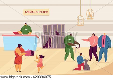 Cartoon People And Pets In Animal Shelter. Flat Vector Illustration. Volunteers Caring About Dogs An