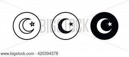 Black Moon Star Islam Islamic Muslim Icon Religion Silhouette Icon Vector Logo Symbol