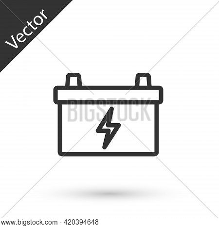 Grey Line Car Battery Icon Isolated On White Background. Accumulator Battery Energy Power And Electr