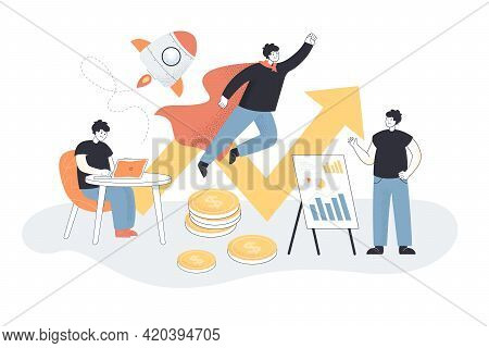 Businessmen With Ideas Creating Startup. Company Leader Flying Like Superhero, Rocket Flat Vector Il