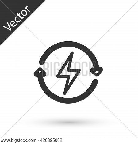 Grey Line Recharging Icon Isolated On White Background. Electric Energy Sign. Vector