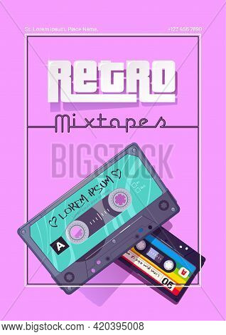 Retro Mixtapes Cartoon Poster With Audio Cassettes, Mix Tapes, Media Storage For Music And Sound On