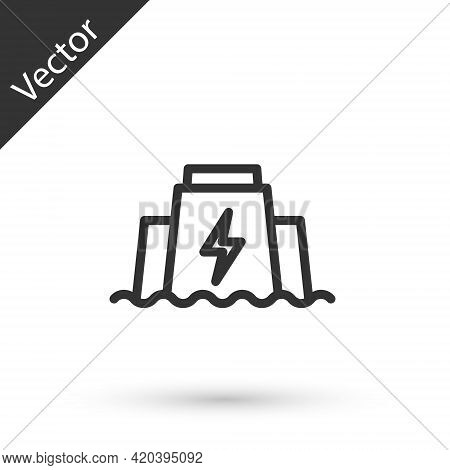 Grey Line Hydroelectric Dam Icon Isolated On White Background. Water Energy Plant. Hydropower. Hydro