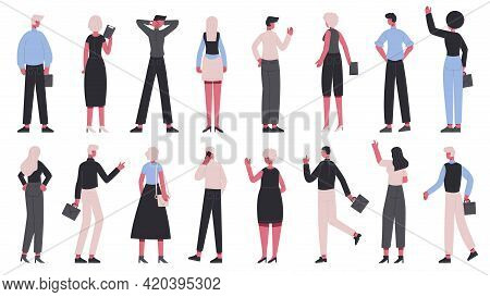 Back View Business Characters. Office Workers View From Back, Business Men And Women Back Side Vecto