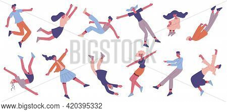 People Floating In Air. Flying Male And Female Characters Floating In Space, Imagination Or Dreaming